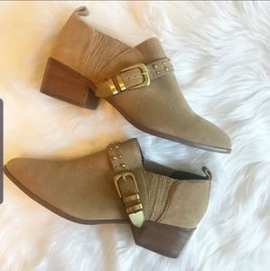BCBGeneration Stud Beige Leather Ankle Boo…